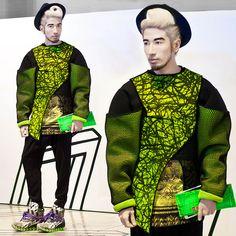Andre Judd - Mesh Neoprene Top With Paint Splatter Print, Tailored Pleated Trousers, Bernard Wilhelm X Camper Hiking Sneakers - GREEN OOZE