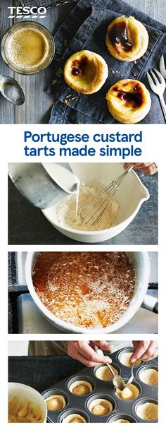 How to make Portuguese custard tarts A tart and a custard recipe combined, these Portugese custard tarts, known as pastéis de nata, are a winning combination of flaky pastry and sweet, creamy filling that's perfect for afternoon tea. Custard Recipes, Puff Pastry Recipes, Tart Recipes, Dessert Recipes, Sweet Recipes, Portugese Custard Tarts, Portuguese Custard Tart Recipe, Portuguese Recipes, Sweet Pie