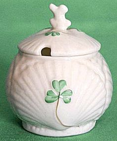Vintage Irish Belleek Harp & Shamrock Mustard Pot