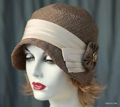 20s Womens Cloche Hat Downton Abbey Vintage Style Coco Brown Tweed Fabric