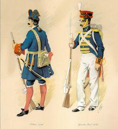 C. Urbez, Infantería de Marina; soldado 1746, guardia real 1816, respectivamente.