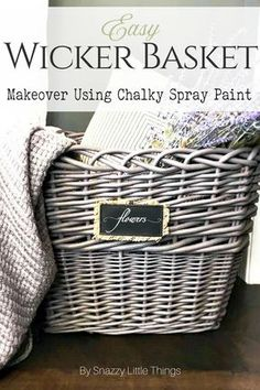 Easy Wicker Basket Makeover snazzy little things Easy Wicker Basket Makeover snazzy little things Modern on Monticello Interior Designer 038 DIY Enthusiast modmonticello Home Matters nbsp hellip furniture makeover Spray Paint Wicker, Chalk Spray Paint, Painted Wicker, Spray Painting, Spray Painted Baskets, Upcycled Crafts, Funky Home Decor, Diy Home Decor, Old Wicker