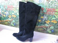 Ramona Women's Black Suede Knee High Boots SZ 36 Made in Italy NEW #Ramona #FashionKneeHigh