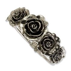1928 Boutique Jewelry Silver-tone Antiqued Flowers Hinged Cuff Bangle Bangles