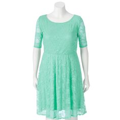 Juniors' Plus Size Wrapper Lace A-Line Dress, Teens, Size: 2XL, Green Oth