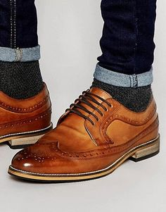 c5f014926a13 DESIGN brogue shoes in polished tan leather