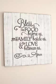 Bless the food before us rustic sign , huge dining room wall art , prayer decor… Handmade Home Decor, Diy Home Decor, Room Decor, Country Decor, Rustic Decor, Rustic Kitchen Wall Decor, Dining Room Wall Art, Bless The Food, Kitchen Signs