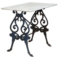 French Blue Iron Base Bistro Table With Marble Top | From a unique collection of antique and modern side tables at https://www.1stdibs.com/furniture/tables/side-tables/