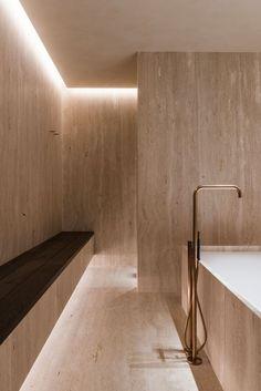 Bathroom - Residence in Rumbeke Belgium by Maister Spa Interior, Bathroom Interior Design, Interior Lighting, Kitchen Interior, Bathroom Designs, Minimalist Bathroom Design, Minimal Bathroom, Modern Bathroom, Travertine Bathroom