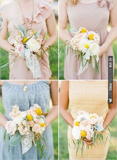 pastel bridesmaid dresses and natural bouquets | CHECK OUT MORE IDEAS AT WEDDINGPINS.NET | #bridesmaids
