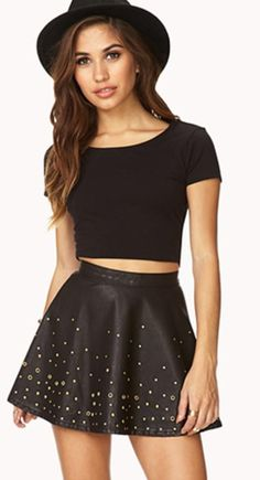 Black crop top and skirt