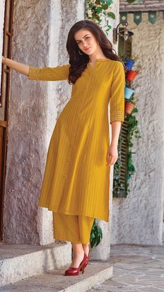 Be cheerful and bright this season in fabrics and designs apt for summer season. Available in all our stores and also online. Indian Fashion Dresses, Pakistani Fashion Casual, Pakistani Dresses Casual, Dress Indian Style, Pakistani Dress Design, Indian Designer Outfits, Indian Outfits, Silk Kurti Designs, Kurta Designs Women