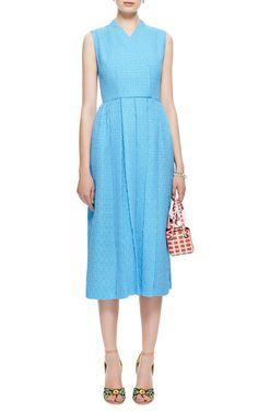 M'O Exclusive: Jully Pleated Matelassé Midi Dress by Emilia Wickstead - Moda Operandi