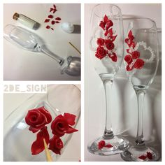 Wedding glasses, red roses and pearls, polymer, fimo / bicchieri per matrimonio con rose rosse in pasta polimerica e perle