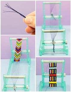 DIY Bead Loom Bracelet weaving via Hopeful Honey Bracelet Fil, Bead Loom Bracelets, Bead Loom Patterns, Beading Patterns, Bead Crafts, Jewelry Crafts, Beaded Beads, Do It Yourself Jewelry, Peyote Beading