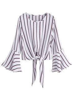 White Striped Knot Front Bell Sleeve Crop Blouse Size Available: one-size Type: Crop Fabric: Fabric has no stretch Season: Fall Pattern Type: Striped Sleeve Le… Bell Sleeve Crop Top, Bell Sleeve Blouse, Crop Blouse, Collar Blouse, Bell Sleeves, Long Blouse, Striped Crop Top, Corsage, Dress To Impress