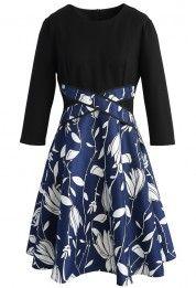 Flowering Vines Two Tone Dress in Black