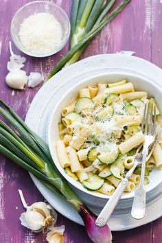 ... creamy pasta features sweet spring onions and buttery zucchini squash
