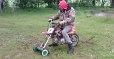 A British man has filmed his attempts to trial a dirt bike/lawnmower hybrid in his back garden.