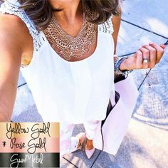 "Rose gold chain bib necklace Mix and match with this gorgeous piece! Necklace is rose gold tone metal with several multi layered chains on this collar piece. Brand new // never worn // also available in gunmetal gray and yellow gold! Measurements are approx 16.5"" long with 2"" extender & 2"" drop This style was huge online last season! Grabbed ONE extra to share with you :)  Original photos are my own, do not replicate Jewelry Necklaces"