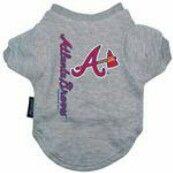 Atlanta Braves Dog T-Shirt - Gray PRS#7356 Phancipawsonlinepetstore.com