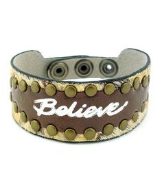 Take a look at this Brown Imagine 'Believe' Leather Bracelet by Good Work(s) Make A Difference on #zulily today!
