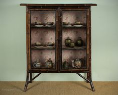 Aesthetic Movement Bamboo Display Cabinet C.1880. - Antiques Atlas