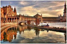 A linda Plaza de España em Sevilla! Que pôr do sol!