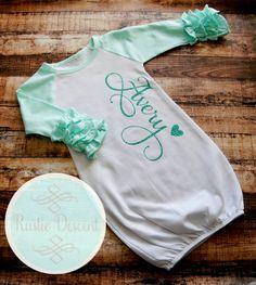 Junie grace newborn girl coming home outfit baby girl raglan ruffle sleeve gown newborn gift coming home outfit baby girl personalized negle Choice Image