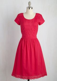 By conducting your walking tours in this cotton dress, you show that your have an equal passion for history and fashion! Alluding to your proclivity for detail with its lace-paneled bodice and eyelet-trimmed skirt, this berry pink midi is an unforgettable accompaniment to your educational outings.