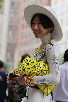 Geometric prints paired with a wide-brim cowboy hat? Yes.