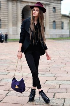 maroon hat, purple bag, black attire, perfect!