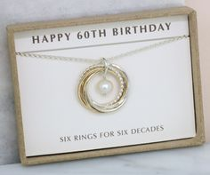 60th birthday gift - this mixed metal necklace is handmade with 6  interlocking rings and a 42ca76d9905