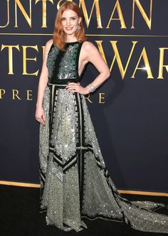 JESSICA CHASTAIN in a green sequin Altuzarra gown and Piaget jewelry at the The Huntsman: Winter's War premiere.