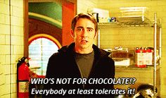 Lee Pace expressing my views on chocolate. Especially European chocolate and DeBrand's truffles. Seriously, I will share my Cadbury chocolate with anyone, anytime. I love sharing the yummy.