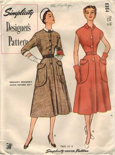 Designer's pattern, Simplicity 8364 yr.1951, a graceful step-in dress shows late 1940s influence and has the bonus of detachable collar & cuffs!  Dress has dart-fitted bodice, with jewel neckline, petite Bermuda collar, French darts in front, vertical waistline darts in back, extended shoulders, optional 3/4 length sleeves with turn-back cuffs, front button closing with fly that extends into the upper skirt, 4-gore flared skirt in not-quite-tea-length, and ginormous patch pockets