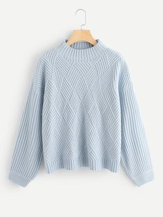 f33c14c2f0 Shop Geo Front Rib Knit Sweater online. SheIn offers Geo Front Rib Knit  Sweater