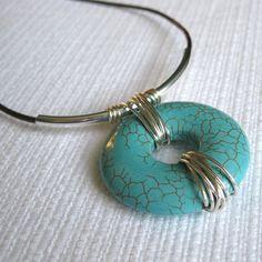 Light turqouise magnesite donut pendant    http://www.etsy.com/listing/91649338/magnesit-donut-and-silver-tube-pendant