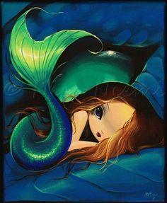 Mermaid Art Gallery | Precious Little Mermaid - by Nico Niemi from mermaids