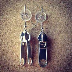 Silver double sided zipper slider dangle earrings  by FabboDesigns