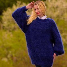 BLUE Hand Knit Mohair Sweater Mens Ribbed Fuzzy Mens Jumper SUPERTANYA M L XL #SuperTanya #Crewneck