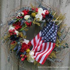 Americana Wreath Patriotic Boston Williamsburg by NewEnglandWreath,