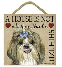 "House is not a Home without a Shih Tzu 5"" x 5"" sign plaque by SJT, http://www.amazon.com/dp/B00E6VQM6A/ref=cm_sw_r_pi_dp_EOxgsb03HPADA/182-5004677-2977106"