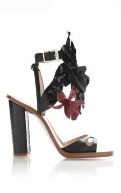 Shop Black High Heel Sandals With Burgundy Flower by No. 21 for Preorder on Moda Operandi