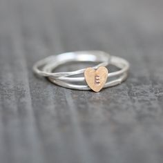 Silver Stacking Rings with Monogrammed Brass by TheRubbishRevival