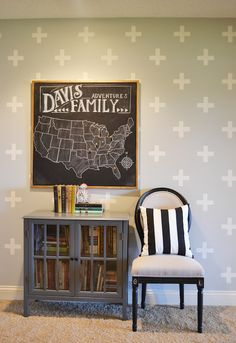 Yes to the swiss cross patterned wall and chalkboard travel map! (There are DIY tutorials for both!)