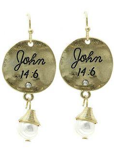 JOHN 14:6 disk drop earrings with pearl charm