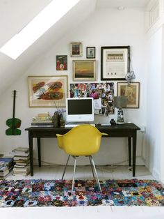 """Pinned this in """"crochet"""" because the hook rug looks like a Sophie Digard piece. From 40 Floppy But Refined Boho Chic Home Office Designs   DigsDigs"""