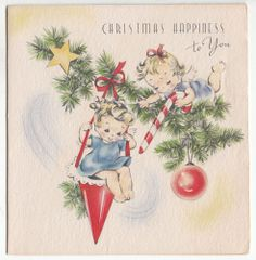 Unused Angel Sitting in Candy Cone on Tree Christmas Greeting Card ~ Vintage