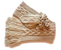 Aran knit Cabled Scarf with fringes Men Women UNISEX  oatmeal beige merino extrafine choose your color.
